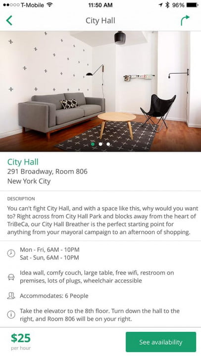 what its like to rent a quiet breather room app ios city hall location
