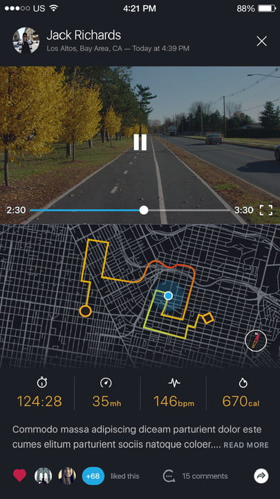 bycle case and app turns iphone into bike computer for tracking rides bycleapp route media player