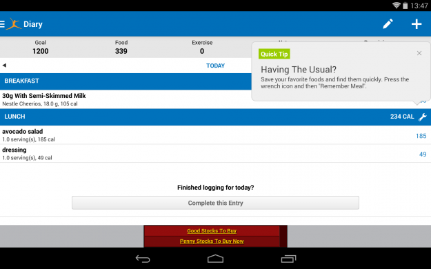 Calorie_Counter_Android_tablet_app_screenshot