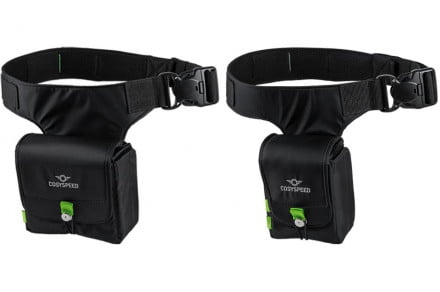 The Camslinger bags are worn on the hip like a fanny pack.