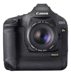 The Canon EOS-1Ds Mark III offers a 21.1 megapixel sensor