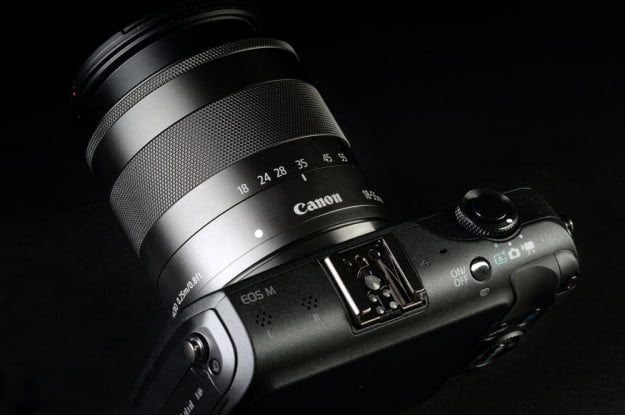 canon eos m micro four thirds camera top lens