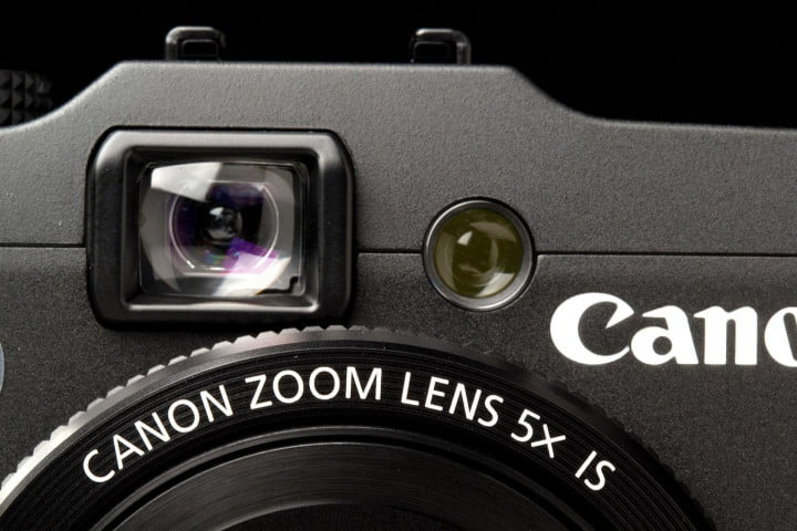 canon powershot g  review camera viewfinder front