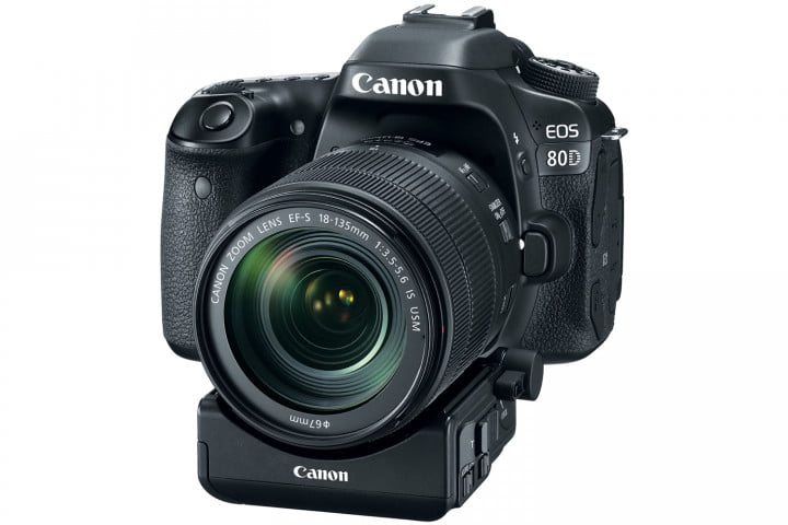 Canon EOS 80D with 18-135mm IS USM kit lens and optional PZ-E1 Power Zoom Adapter.