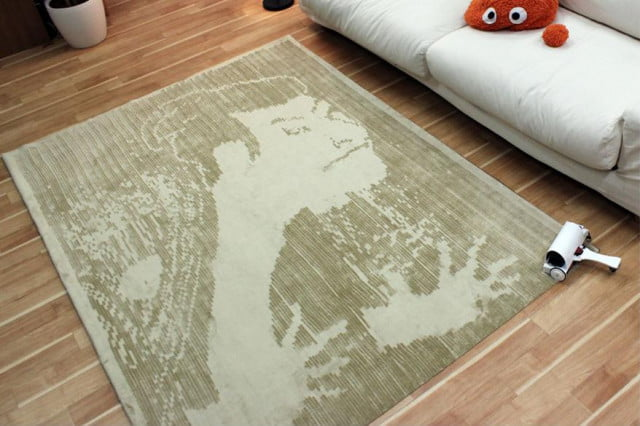graffiti fur makeshift carpet printer brushes giant pictures onto rug