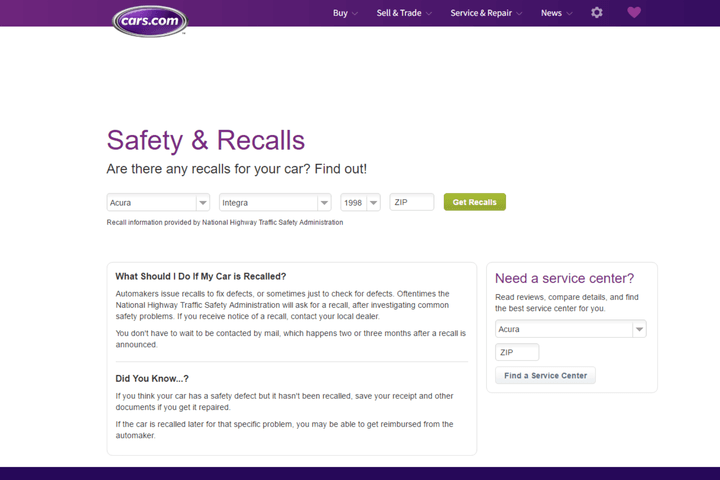 car recall find out info