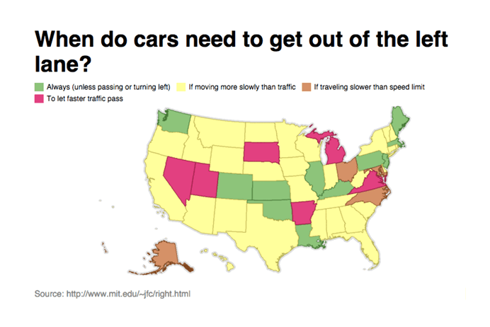 Cars left lane laws by state