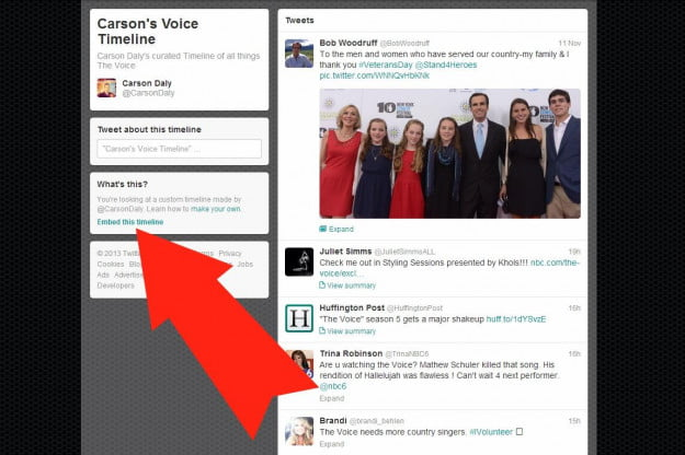 I can assure you, I am not Carson Daly - but I can embed his custom timeline.