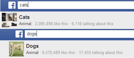 cats v dogs facebook graph search