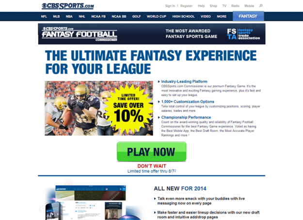 CBS Fantasy Football Homepage