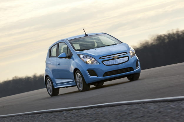 Chevy Spark EV on road