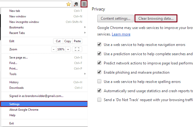 Chrome Cache Settings
