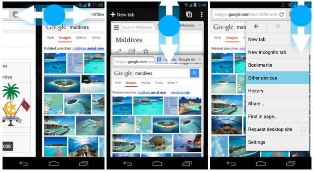 Chrome for Android Gesture Control