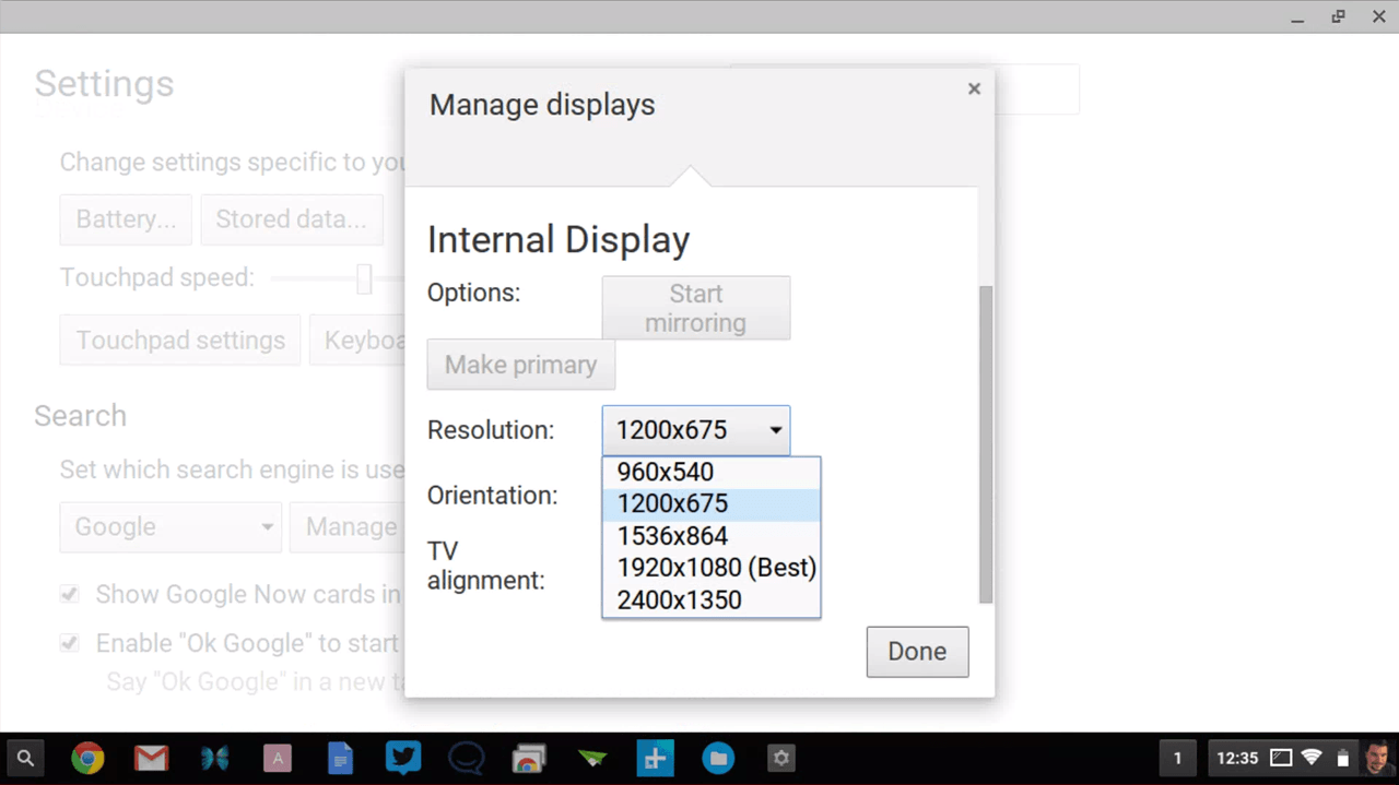 how to change the resolution on a chromebook