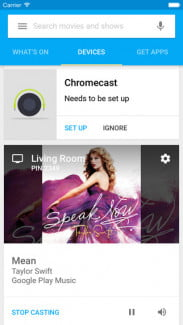 Chromecast iOS app screengrab
