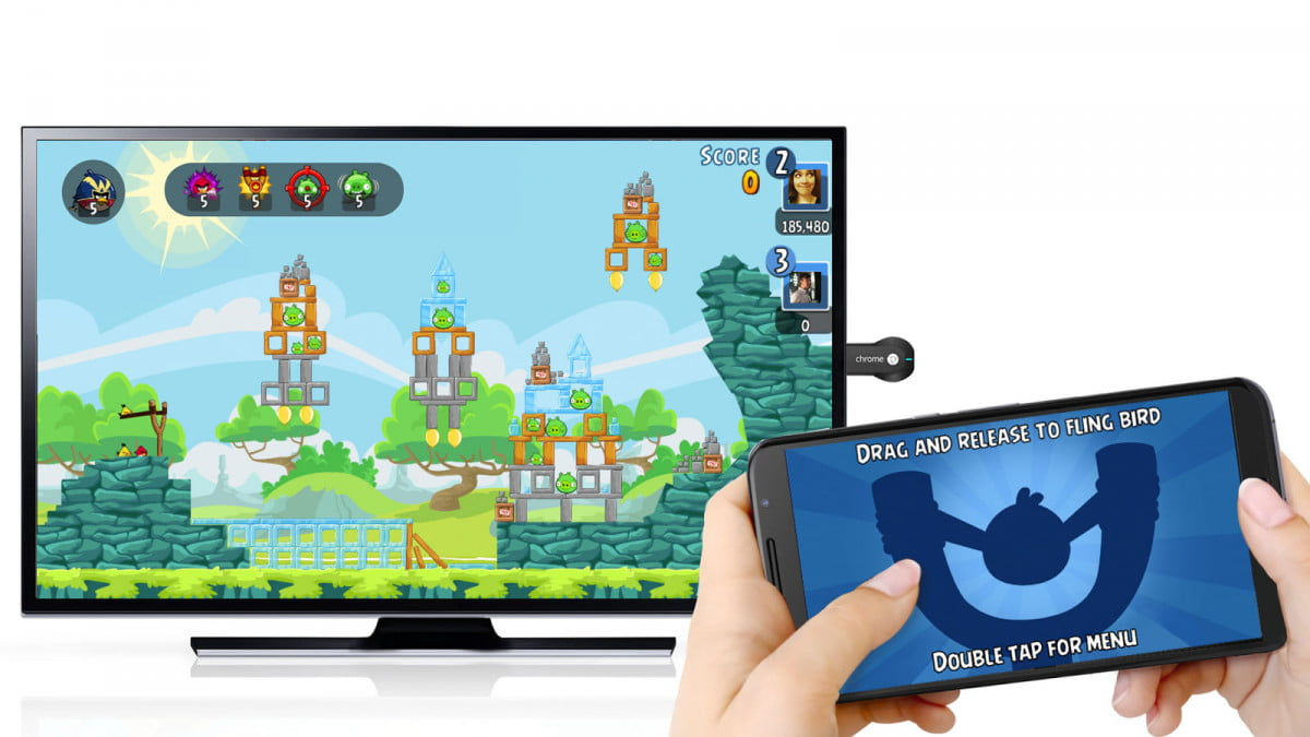 chromecast multi screen games holidays angry birds