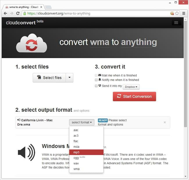 Converting to mp3 using cloud convert
