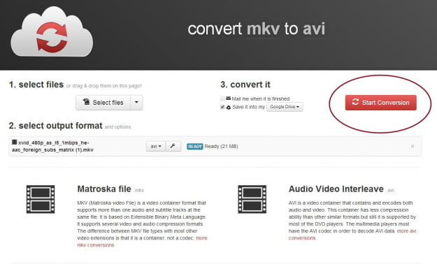 CloudConvert Start Conversion
