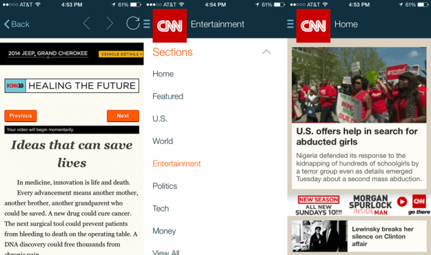 CNN App Screens