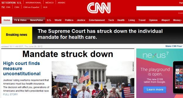 CNN Fail on Obama healthcare law