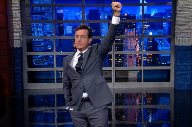 stephen colbert brings younger fans to cbs fist pump