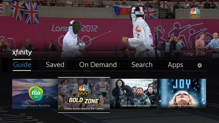 Comcast Olympics coverage Home-screen