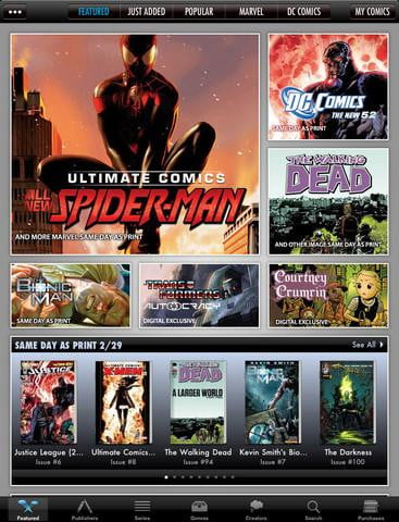 comics screenshot ipad app marvel dc the walking dead