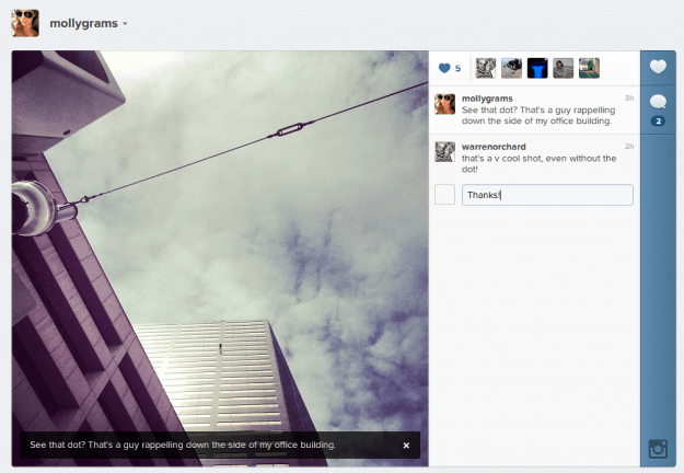 instagram web commenting
