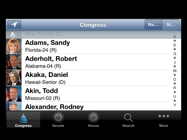 Congress app - location