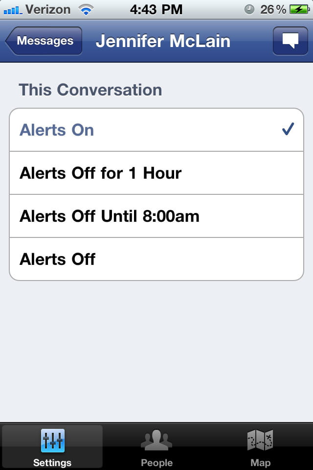 Facebook Messenger Conversation-settings-single