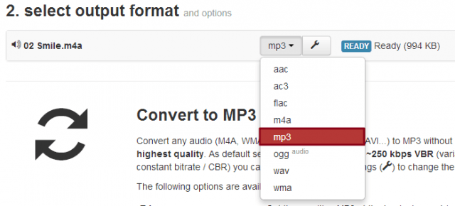 Selecting MP3 Output Format