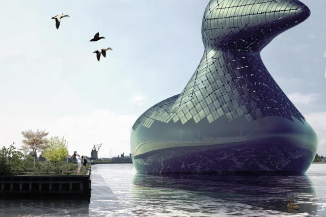 giant floating duck could one day provide solar energy for copenhagen