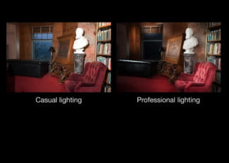 Using Cornell's software to change the lighting conditions of a room.