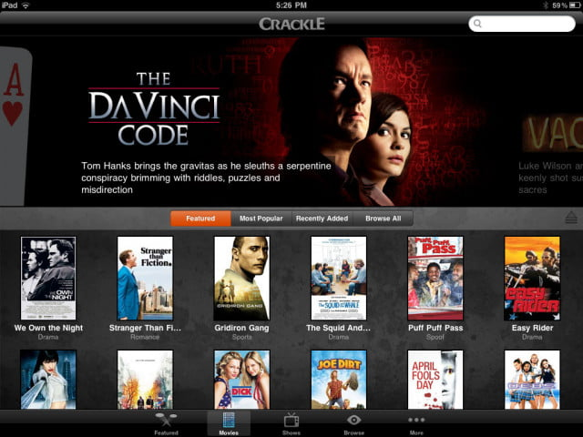 crackle  ipad app screenshot