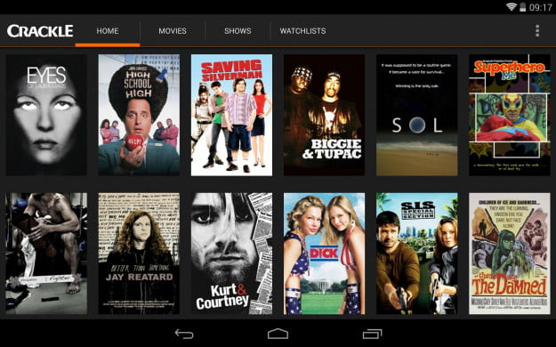 Crackle_Android_tablet_app_screenshot