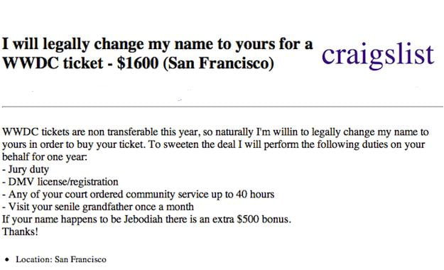Craigslist WWDC Advert