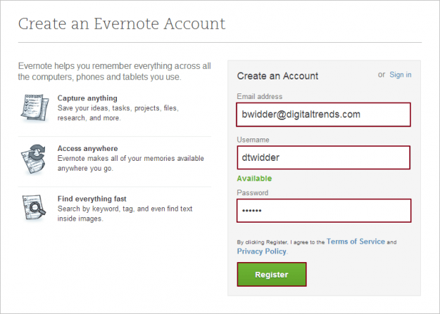 Create Evernote account