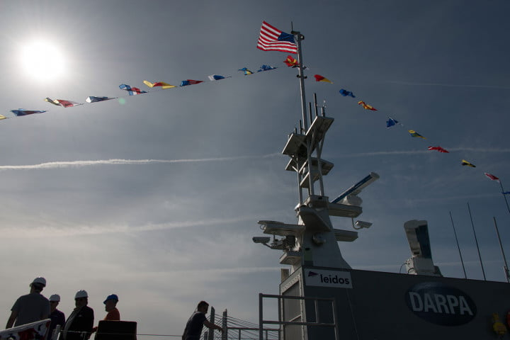 darpa officially christens the actuv in portland boat flags