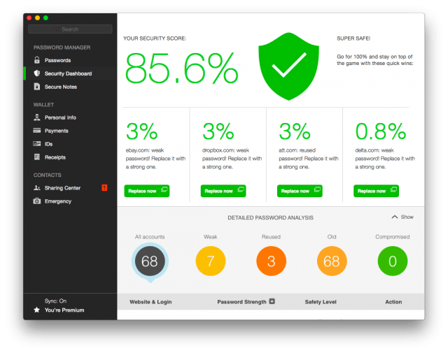 dashlane 4 - security dashboard