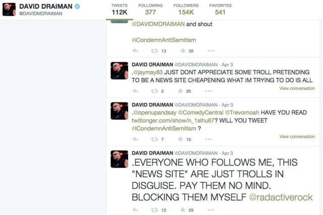 A cached version of David Draiman's Twitter page, before he closed it, showing unhappy tweets toward trolls.