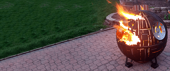 Witness the fire power of this fully armed and operational Death Star fire pit