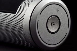 definitive technology sound cylinder side mounted io buttons