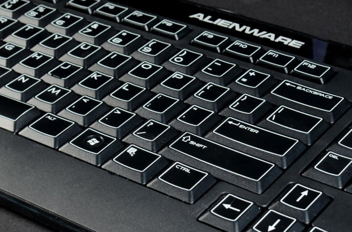 dell alienware x  review gaming desktop keyboard angle