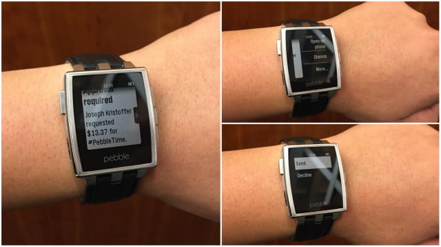 pebbles new actionable notifications mimic android wear demo square cash ad  a