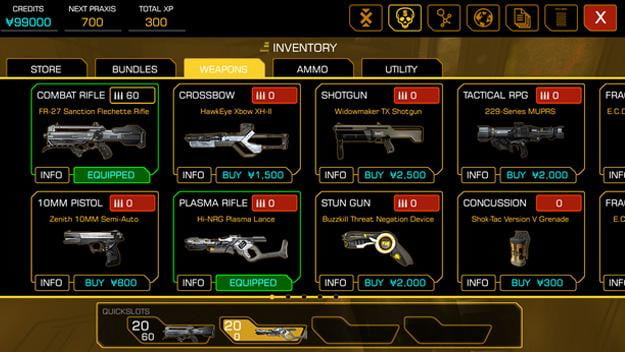 deus ex the fall review weapons