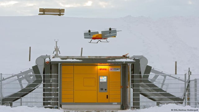dhl parcelcopter drone delivery mountains