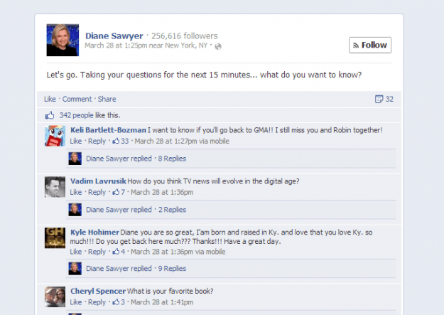 diane sawyer facebook Q&A