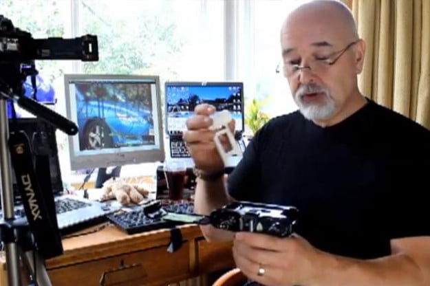 James Jackson shows what the DigiPod would look like and how it fits inside a film SLR (above).