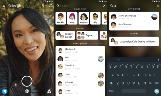 snapchat barra busqueda universal search features  x