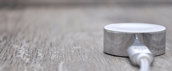 The chrome-plated Diskus makes it simpler to charge your Apple Watch on the go